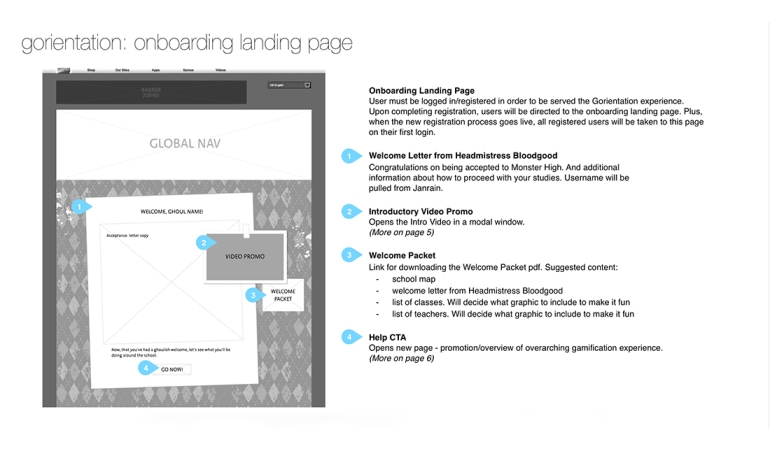 Initial wireframes for the new landing page