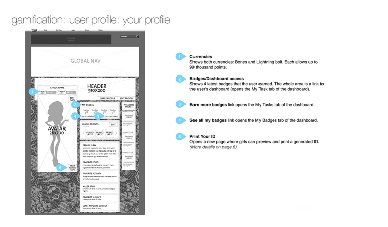 Example of wireframes for the changes on the profile page